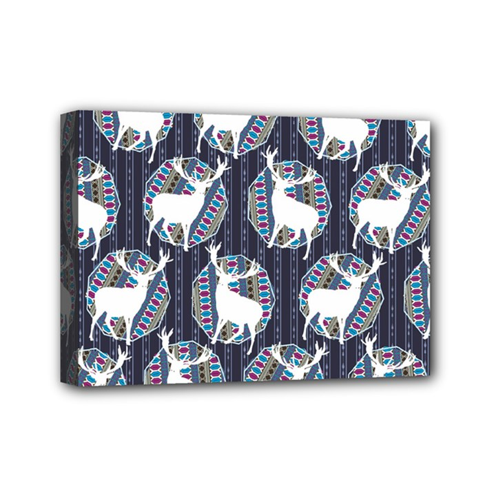 Geometric Deer Retro Pattern Mini Canvas 7  x 5