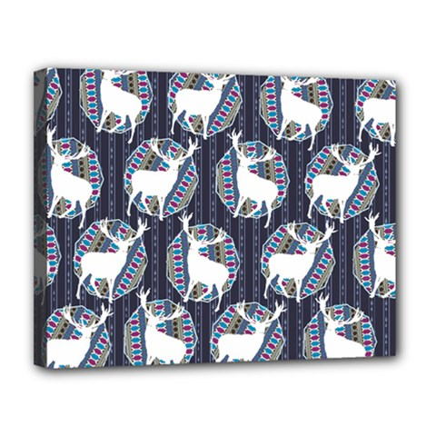 Geometric Deer Retro Pattern Canvas 14  X 11  by DanaeStudio