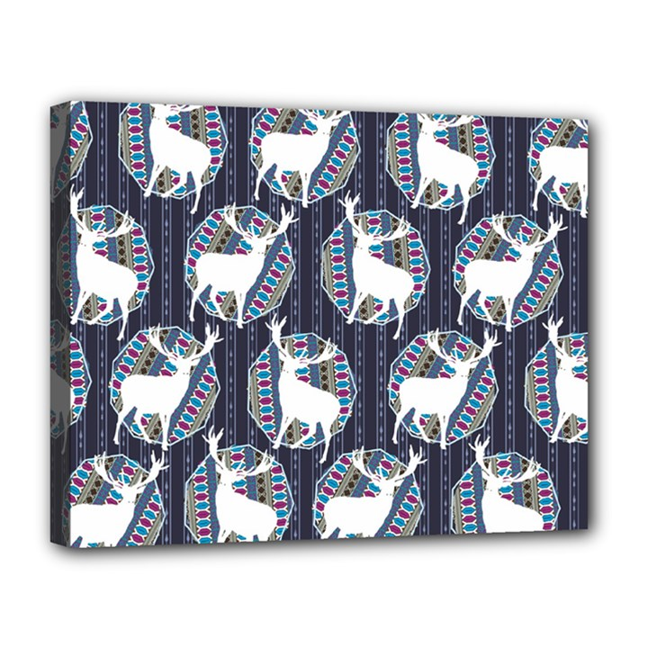 Geometric Deer Retro Pattern Canvas 14  x 11