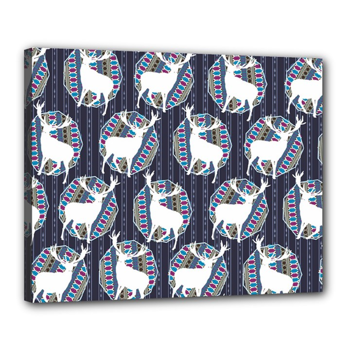 Geometric Deer Retro Pattern Canvas 20  x 16