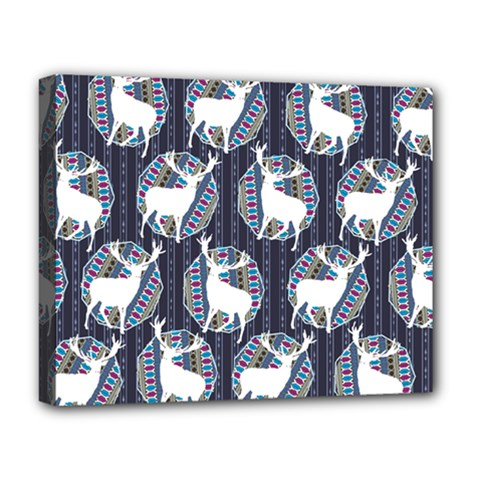 Geometric Deer Retro Pattern Deluxe Canvas 20  X 16   by DanaeStudio