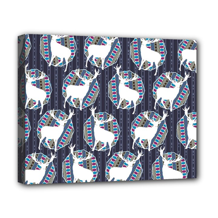 Geometric Deer Retro Pattern Deluxe Canvas 20  x 16