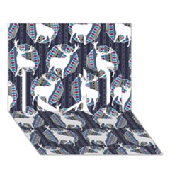 Geometric Deer Retro Pattern I Love You 3d Greeting Card (7x5) by DanaeStudio