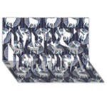 Geometric Deer Retro Pattern Happy Birthday 3D Greeting Card (8x4)