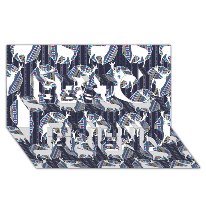 Geometric Deer Retro Pattern Best Friends 3D Greeting Card (8x4)
