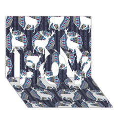 Geometric Deer Retro Pattern Boy 3d Greeting Card (7x5) by DanaeStudio