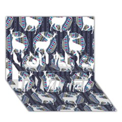 Geometric Deer Retro Pattern You Are Invited 3d Greeting Card (7x5) by DanaeStudio