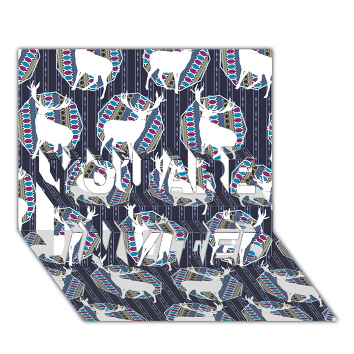 Geometric Deer Retro Pattern YOU ARE INVITED 3D Greeting Card (7x5)