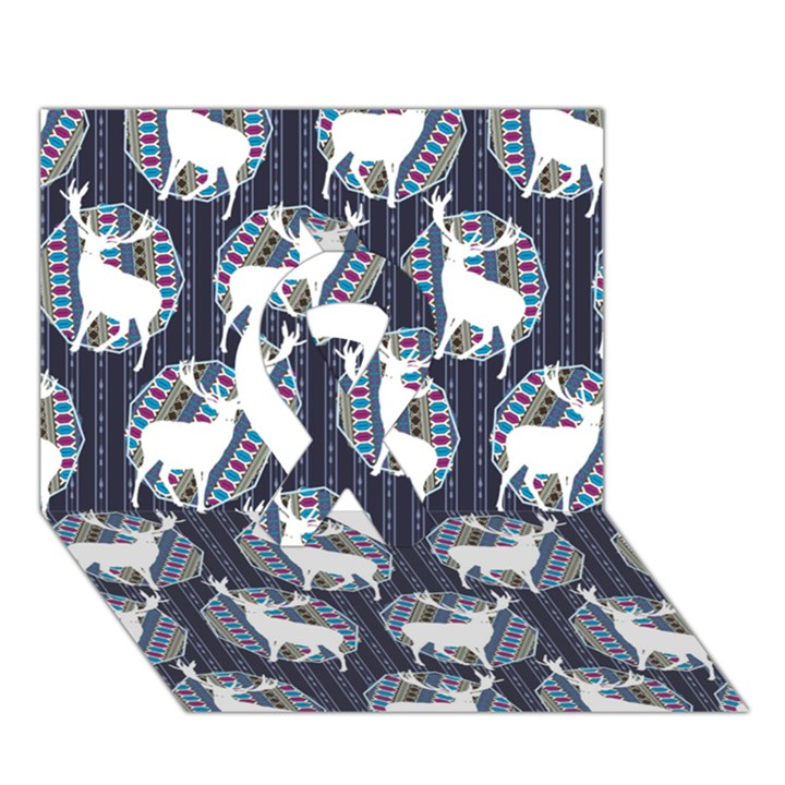 Geometric Deer Retro Pattern Ribbon 3D Greeting Card (7x5)