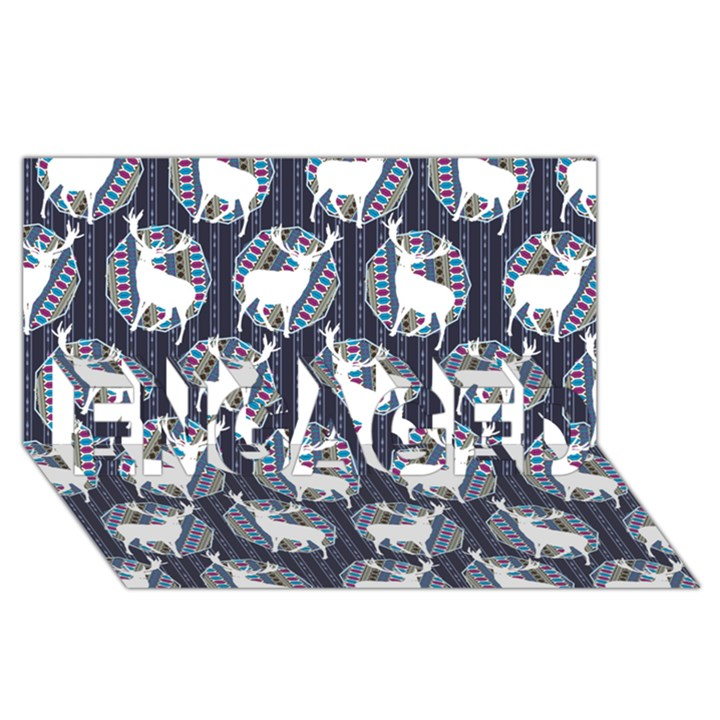 Geometric Deer Retro Pattern ENGAGED 3D Greeting Card (8x4)
