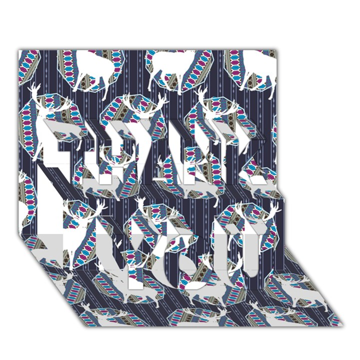 Geometric Deer Retro Pattern THANK YOU 3D Greeting Card (7x5)