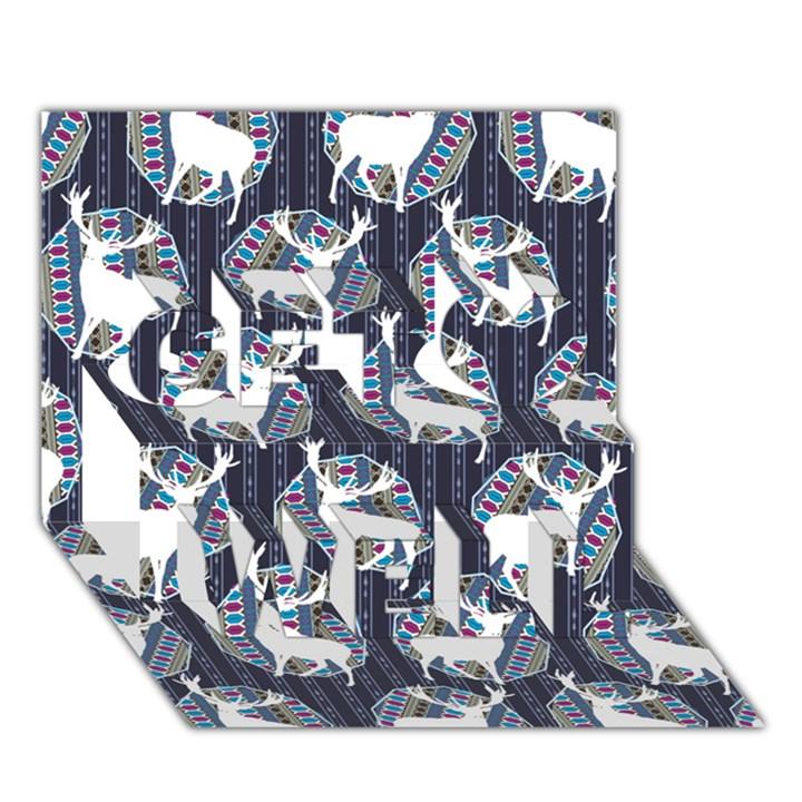 Geometric Deer Retro Pattern Get Well 3D Greeting Card (7x5)