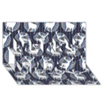 Geometric Deer Retro Pattern Merry Xmas 3D Greeting Card (8x4)