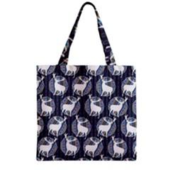 Geometric Deer Retro Pattern Grocery Tote Bag