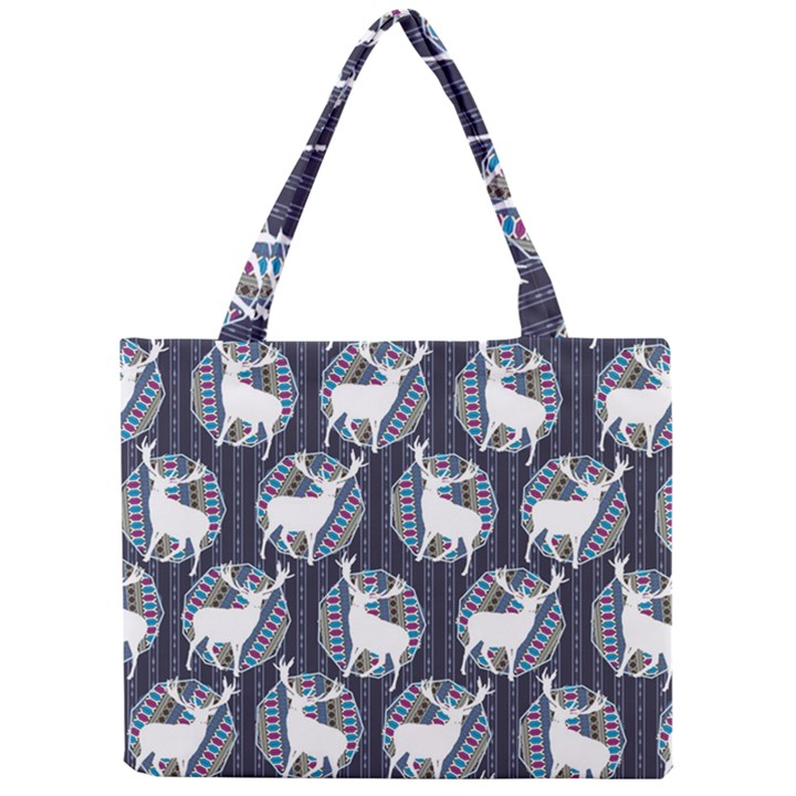 Geometric Deer Retro Pattern Mini Tote Bag