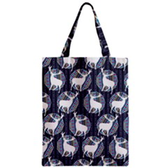 Geometric Deer Retro Pattern Zipper Classic Tote Bag by DanaeStudio