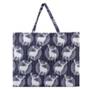 Geometric Deer Retro Pattern Zipper Large Tote Bag View1