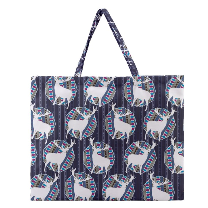Geometric Deer Retro Pattern Zipper Large Tote Bag