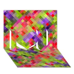 Colorful Mosaic I Love You 3d Greeting Card (7x5) by DanaeStudio