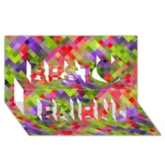 Colorful Mosaic Best Friends 3d Greeting Card (8x4) by DanaeStudio
