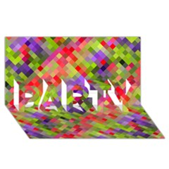 Colorful Mosaic Party 3d Greeting Card (8x4)