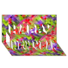 Colorful Mosaic Happy New Year 3d Greeting Card (8x4) by DanaeStudio