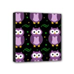 Halloween purple owls pattern Mini Canvas 4  x 4