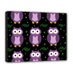 Halloween purple owls pattern Canvas 14  x 11