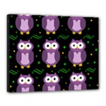 Halloween purple owls pattern Canvas 20  x 16