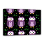 Halloween purple owls pattern Canvas 18  x 12
