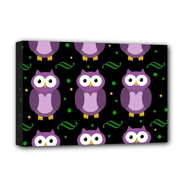 Halloween purple owls pattern Deluxe Canvas 18  x 12