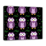Halloween purple owls pattern Deluxe Canvas 24  x 20