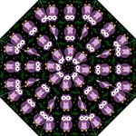 Halloween purple owls pattern Hook Handle Umbrellas (Large)