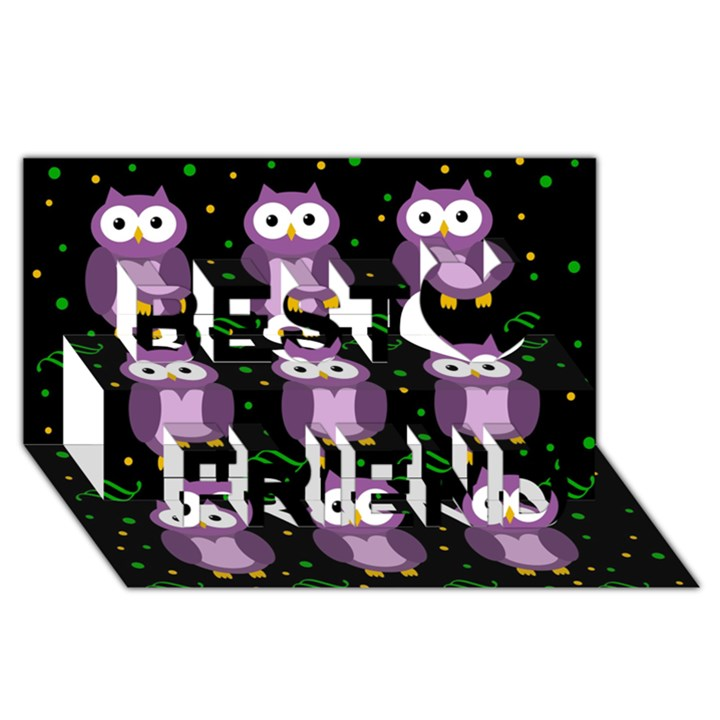 Halloween purple owls pattern Best Friends 3D Greeting Card (8x4)