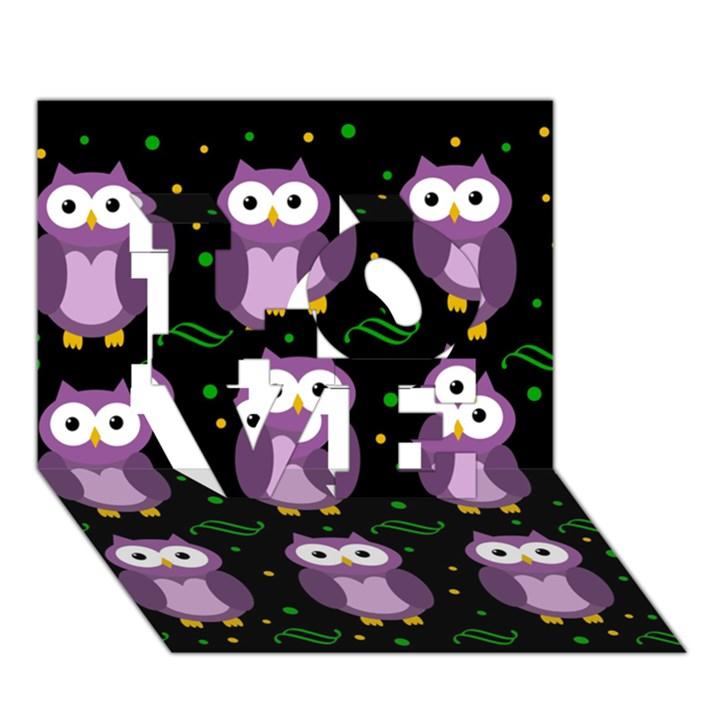 Halloween purple owls pattern LOVE 3D Greeting Card (7x5)