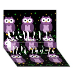 Halloween Purple Owls Pattern You Are Invited 3d Greeting Card (7x5) by Valentinaart