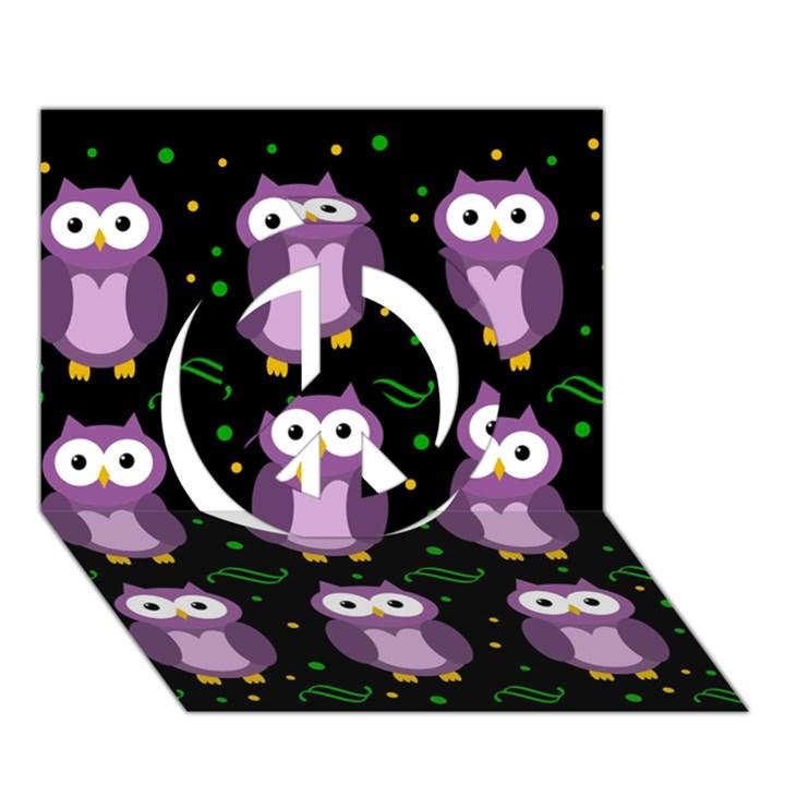 Halloween purple owls pattern Peace Sign 3D Greeting Card (7x5)
