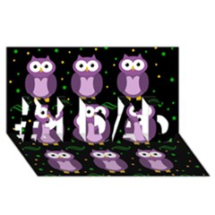 Halloween Purple Owls Pattern #1 Dad 3d Greeting Card (8x4)
