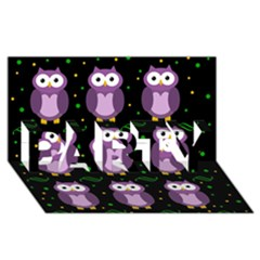 Halloween Purple Owls Pattern Party 3d Greeting Card (8x4)