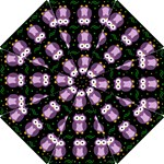Halloween purple owls pattern Hook Handle Umbrellas (Small)