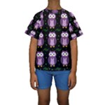 Halloween purple owls pattern Kids  Short Sleeve Swimwear