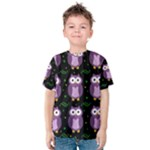 Halloween purple owls pattern Kids  Cotton Tee