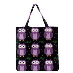 Halloween purple owls pattern Grocery Tote Bag