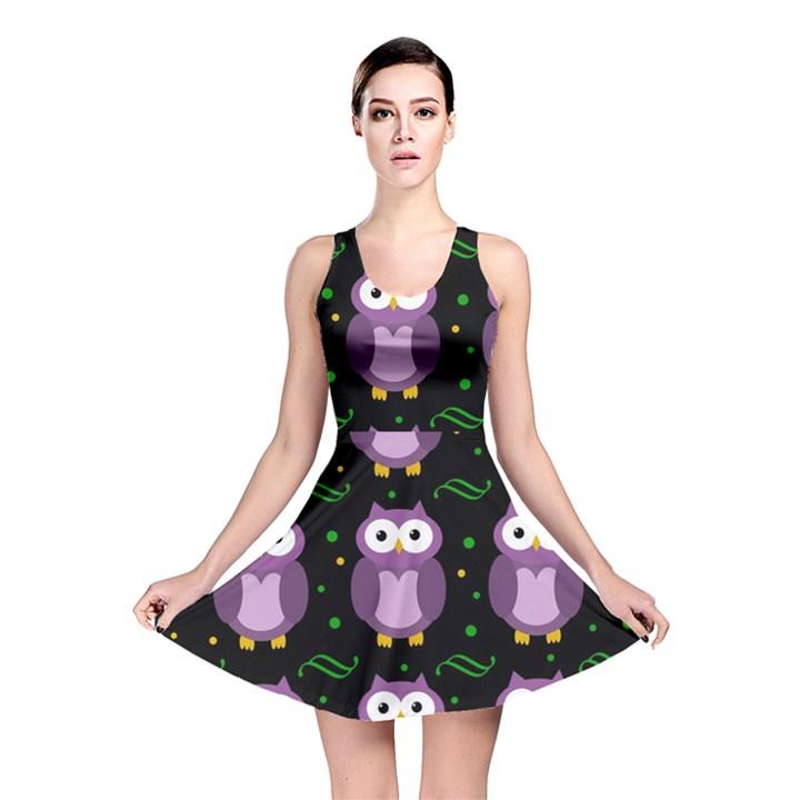 Halloween purple owls pattern Reversible Skater Dress