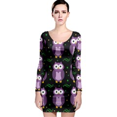 Halloween Purple Owls Pattern Long Sleeve Bodycon Dress