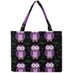 Halloween purple owls pattern Mini Tote Bag