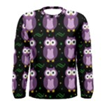 Halloween purple owls pattern Men s Long Sleeve Tee