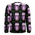 Halloween purple owls pattern Men s Long Sleeve Tee View1