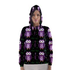 Halloween Purple Owls Pattern Hooded Wind Breaker (women)