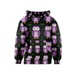 Halloween purple owls pattern Kids  Pullover Hoodie